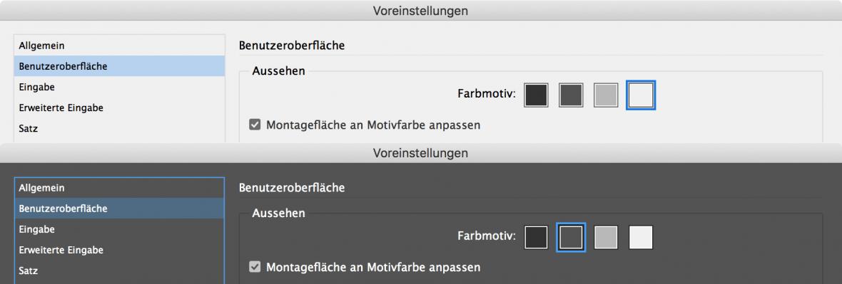 Bildschirmfoto: Voreinstellungen in InDesign für die Farbmotive der Benutzeroberfläche