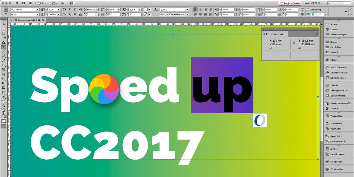 Bildschirmfoto von Adobe InDesign CC2017 mit einer Monaten von OpenType-Problemen