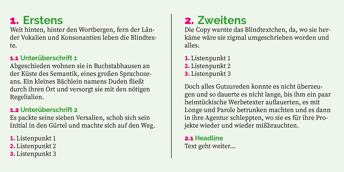 Zweispaltiger Text mit farblich hervorgehobenen Überschriften- und Listennummern
