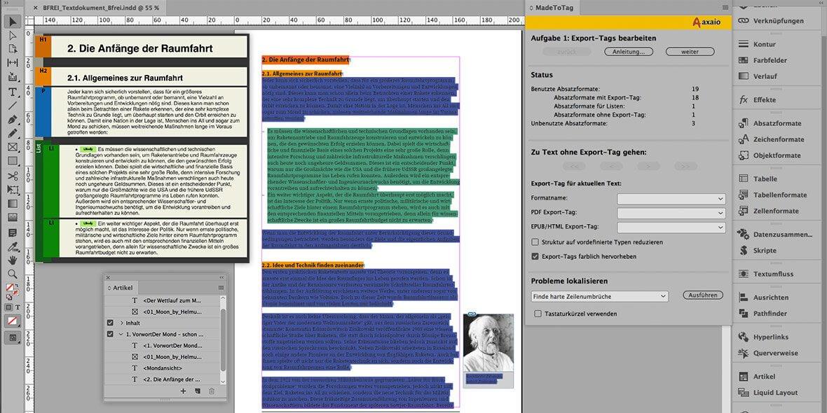 Bildschirmfoto von einem barrierefreie Dokument in InDesign und der Arbeitsumgebung dort
