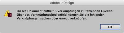 Bildschirmfoto InDesign, fehlende Verknüpfungen