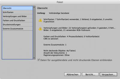 Bildschirmfoto InDesign, Übersicht beim Verpacken eines Dokumentes