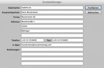 Bildschirmfoto InDesign, Kontaktinformationen beim Verpacken hinterlegen
