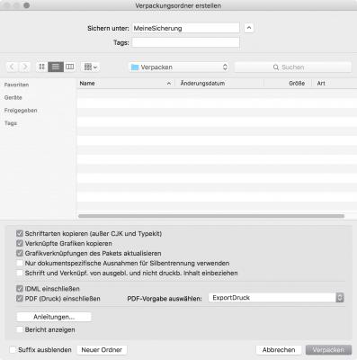 Bildschirmfoto InDesign, Optionen für das Verpacken eines InDesign-Dokumentes definieren