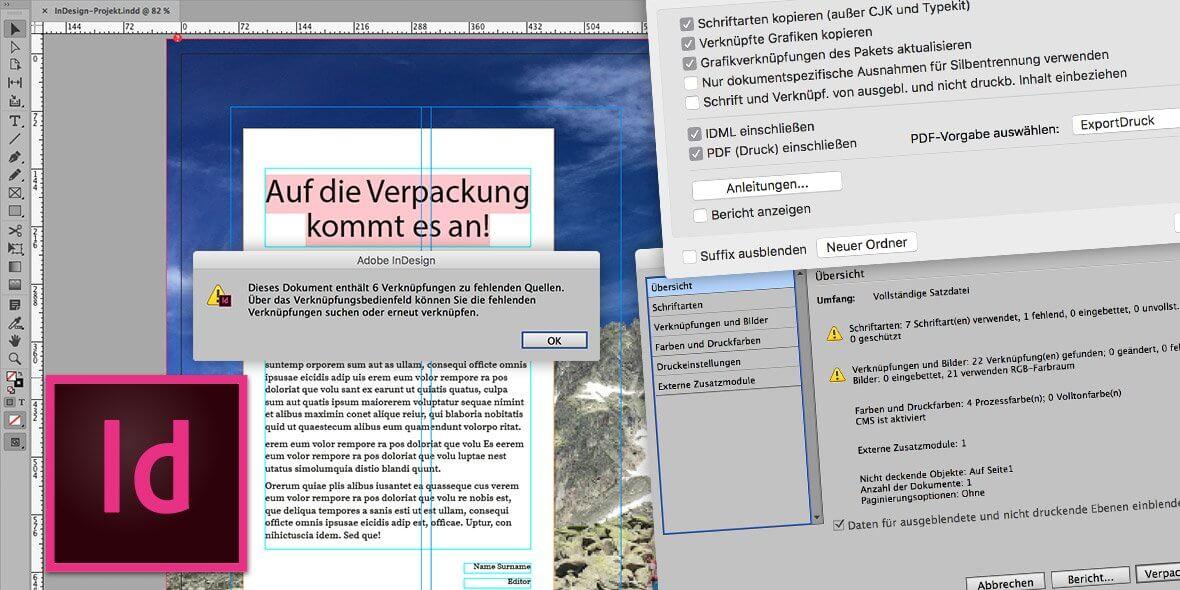 Montage von Bildschirmfotos aus Adobe InDesign zum Thema Verpacken