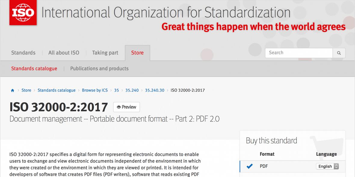 Webseite der ISO Unterseite PDF 2.0 aka ISO 32000-2