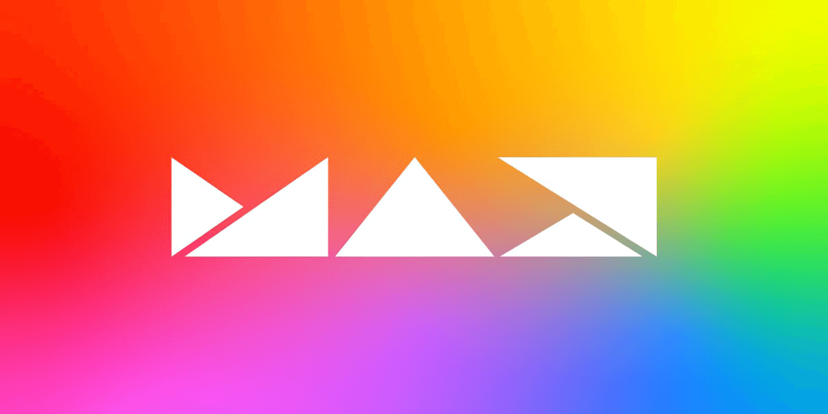 Schriftzug MAX auf bunten Hintergrund