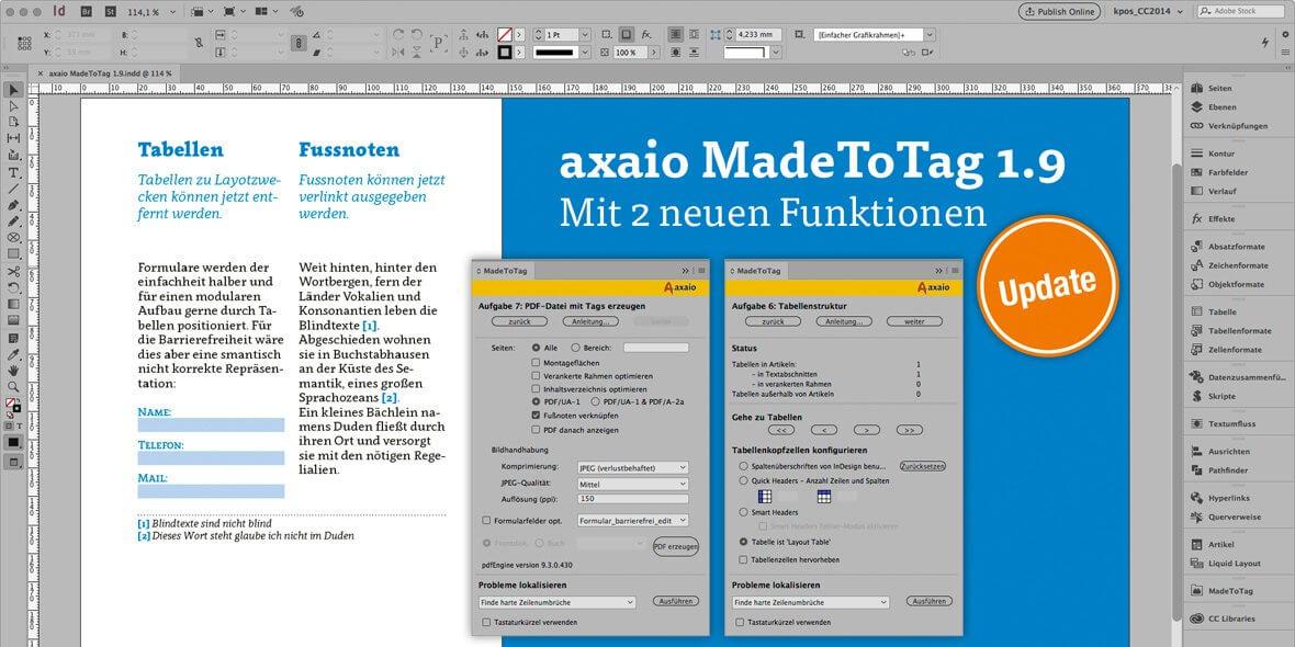 Bildschirmfoto als Aufmacher von einen Seite in InDesign und 2 MadeToTag Paletten
