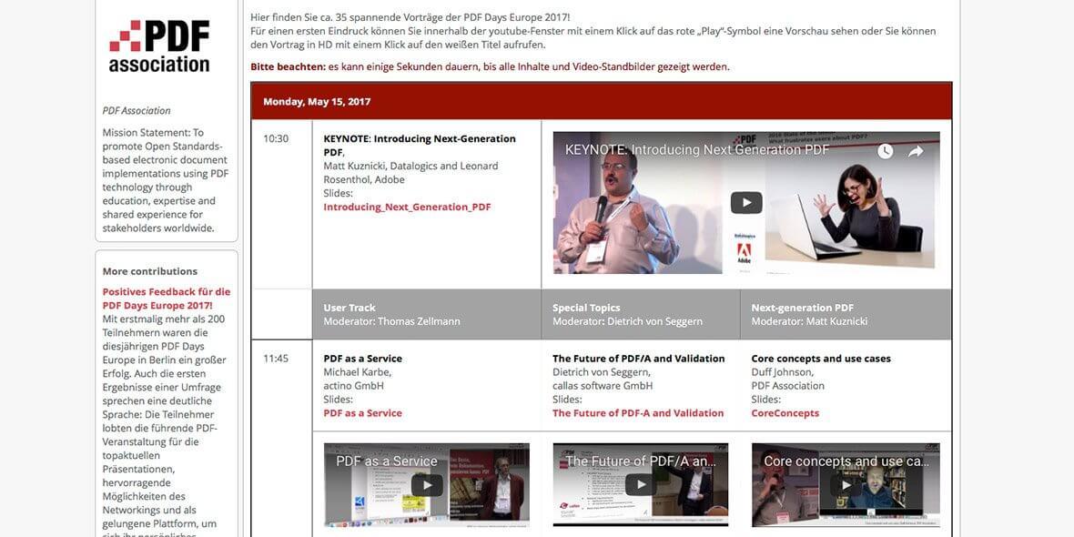 Webseite der PDF Association