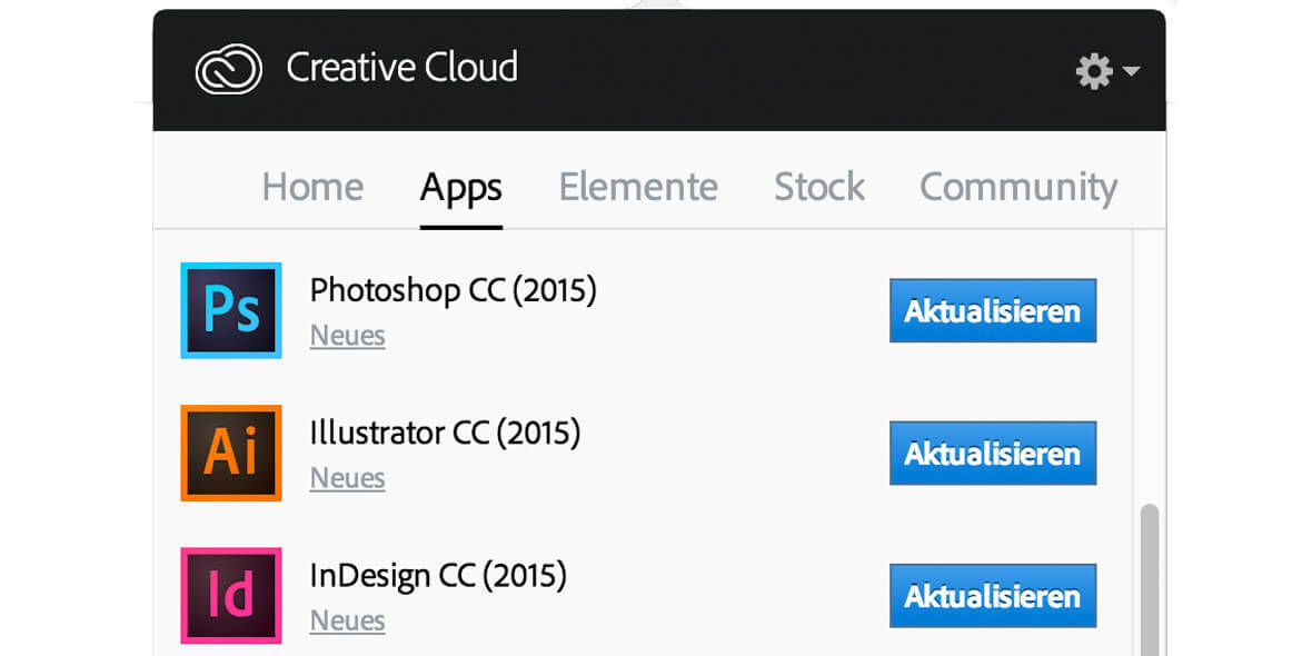 Updatepanel Creative Cloud 2015
