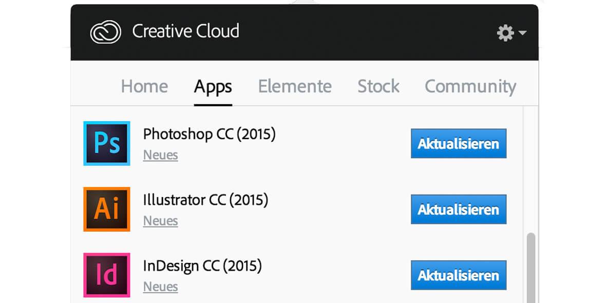 Updatepanel Creative Cloud 2015