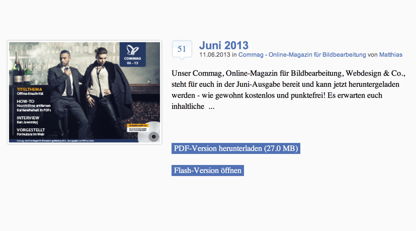 COMMAG Webseite Screenshot