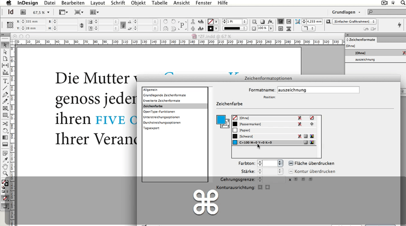 Screenshot InDesign Zeichenfarbe