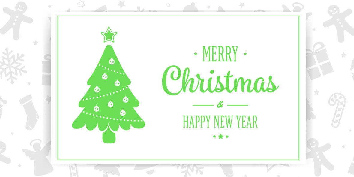 Weihnachtsgruss mit Baum und Schriftzug